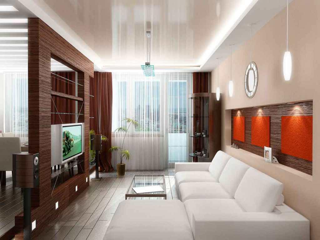 В гостиной лучше всего будет смотреться красивый и стильный натяжной потолок