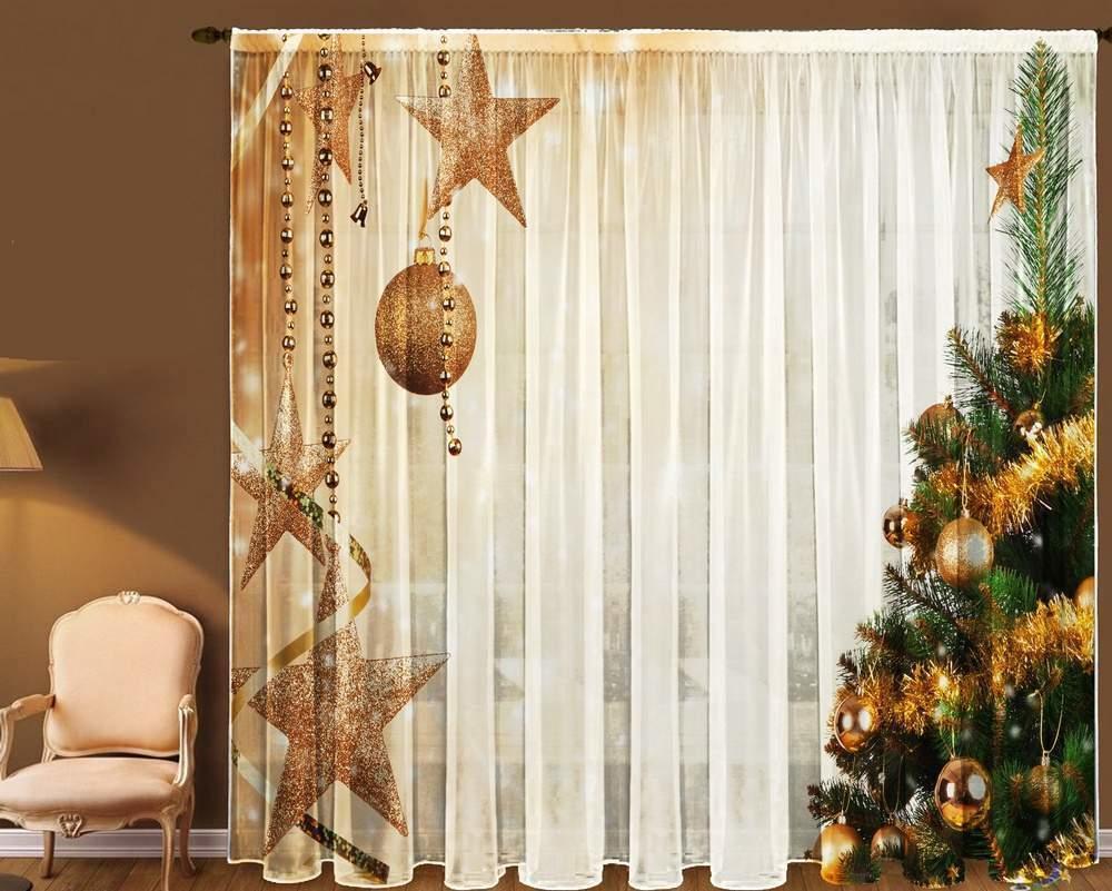 Принты новогодних фотоштор способны сделать комнату сказочной. Со шторами 3D помещению потребуется минимум яркого декора