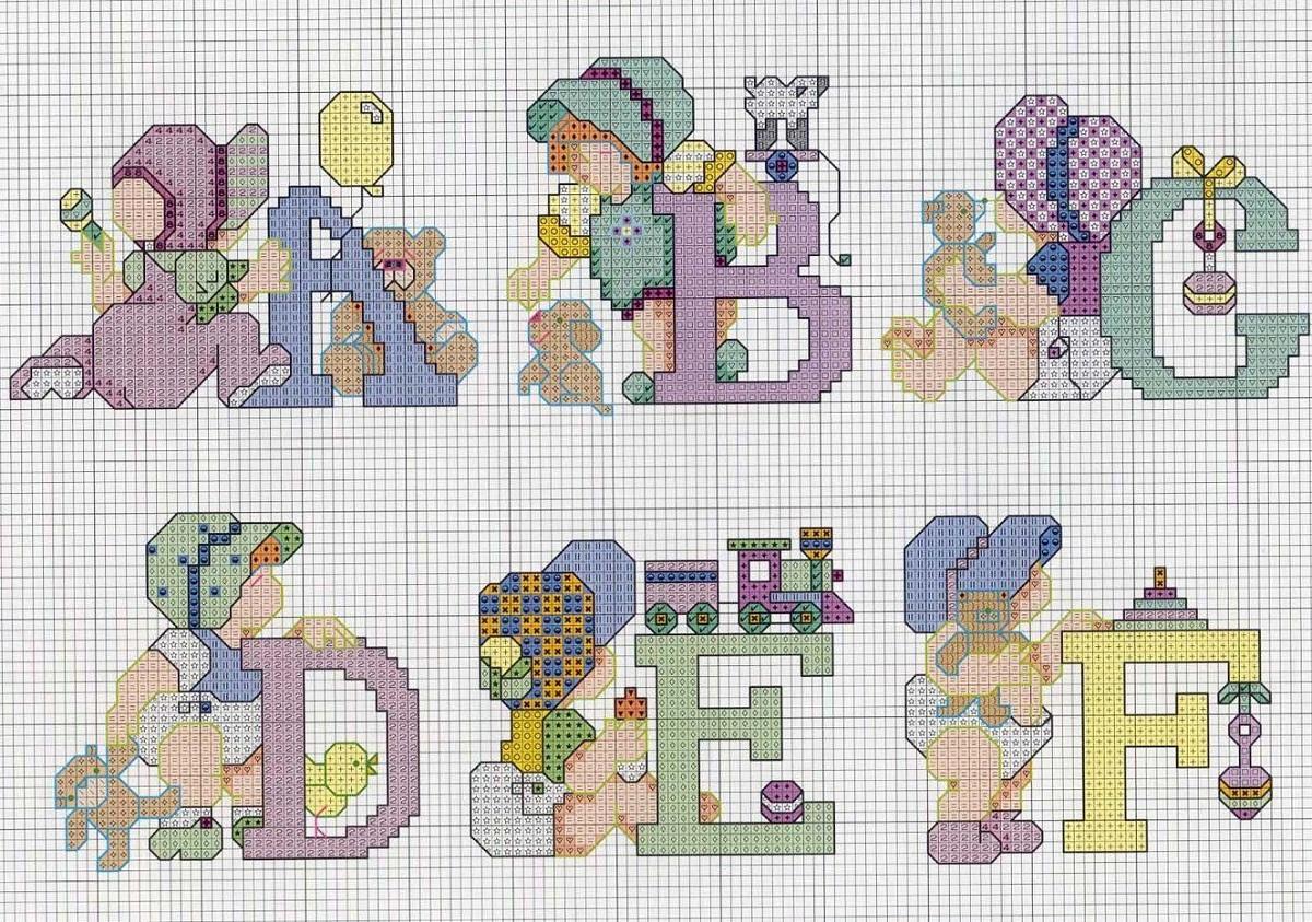 Чтобы вышивка с алфавитом нравилась ребенку, возле каждой буквы можно вышить какое-то животное или мультипликационного персонажа