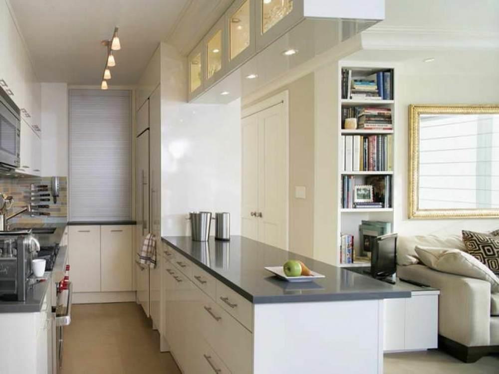 Пространство кухни можно максимально сократить, совместив помещение с гостиной