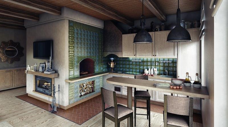 Использование печки на кухне - довольно смелое решение, ведь помимо эстетической красоты, она требует должного ухода
