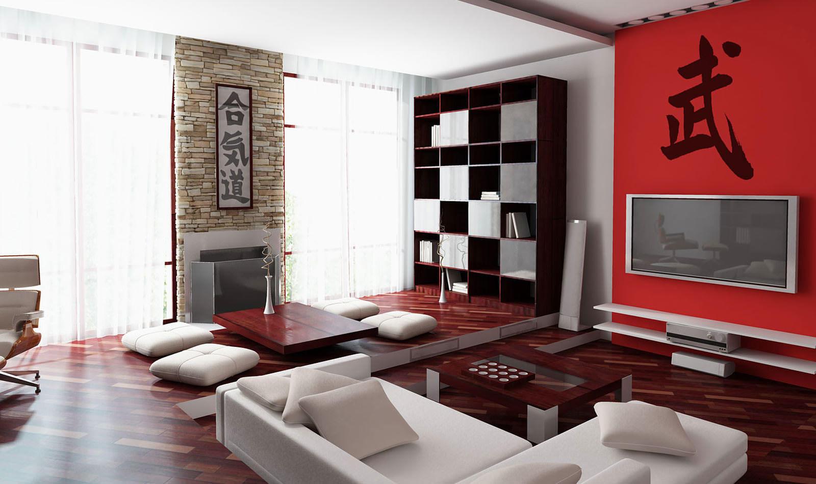 Дизайн предусматривает отделку стен в нежно пастельных тонах, либо ярких. Не покидают модный пьедестал в 2017 году китайские/японские иероглифы