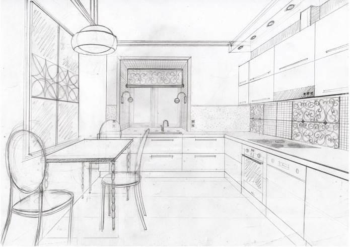 Вдохновившись примерами других кухонь, можно попробовать нарисовать свой эскиз карандашом