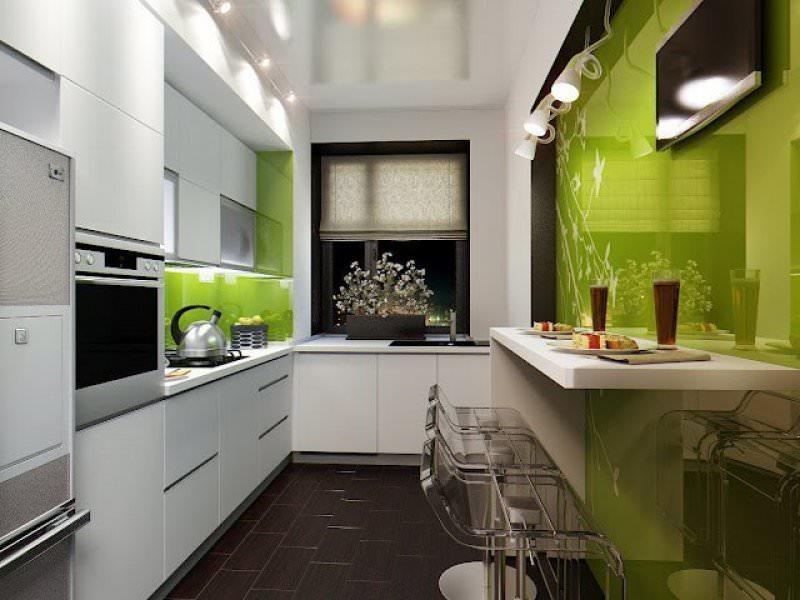 Для узкой кухни оптимальным вариантом является угловое расположение модулей кухонного гарнитура