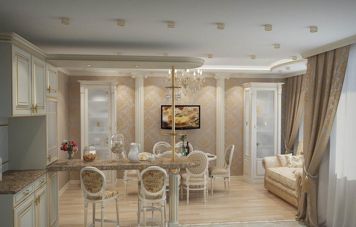 В кухне-гостиной, выполненной в неоклассическом стиле, должны преобладать светлые оттенки и предметы мебели, сделанные в классическом стиле