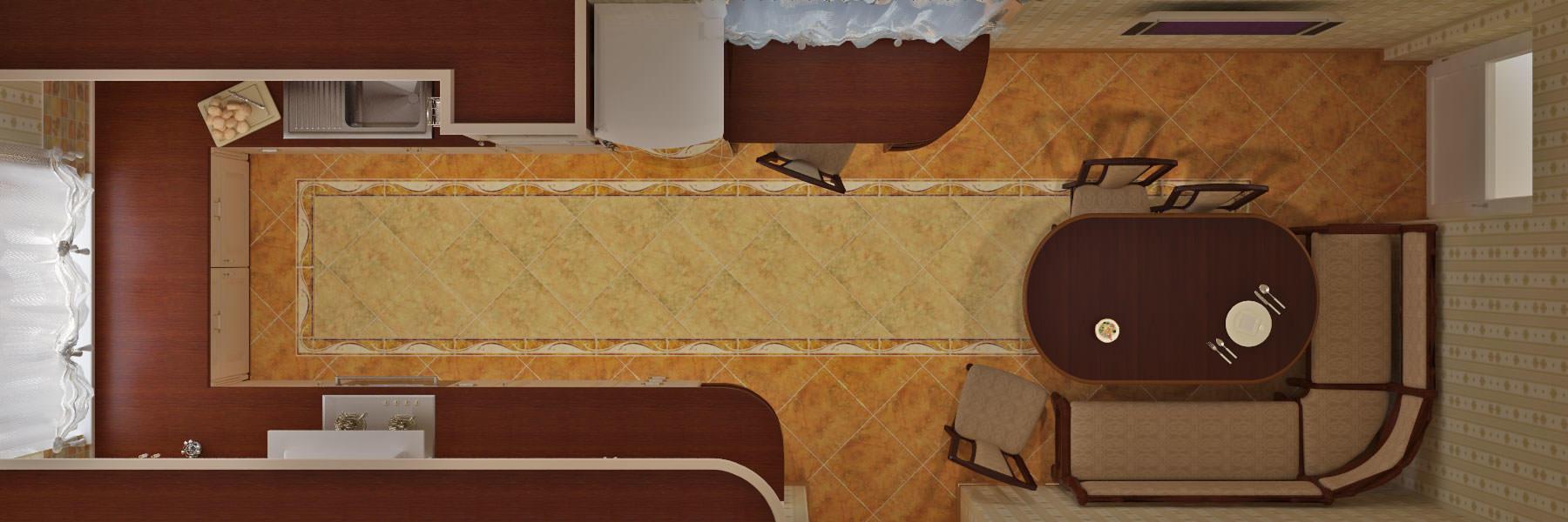 Если у вас узкая длинная кухня, данная планировка для нее будет наиболее оптимальной