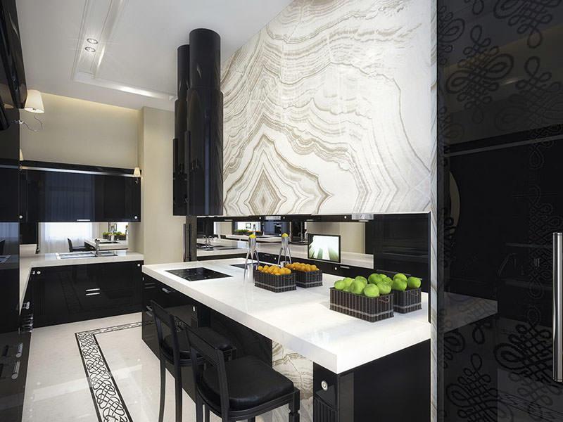 Кухня, в которой сочетаются черные и белые оттенки, уже считается классикой. Но, чтобы сделать ее оригинальной, достаточно легких штрихов - орнаментов или других декоративных элементов