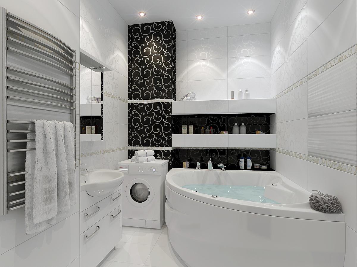 Для черно-белой ванной комнаты хорошо подойдет стиль минимализм или модерн
