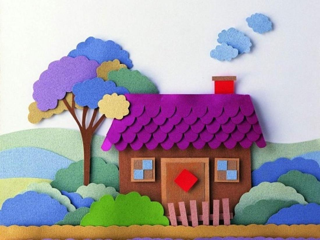 Из картонной коробки можно сделать объемную композицию, которая обязательно понравится ребенку