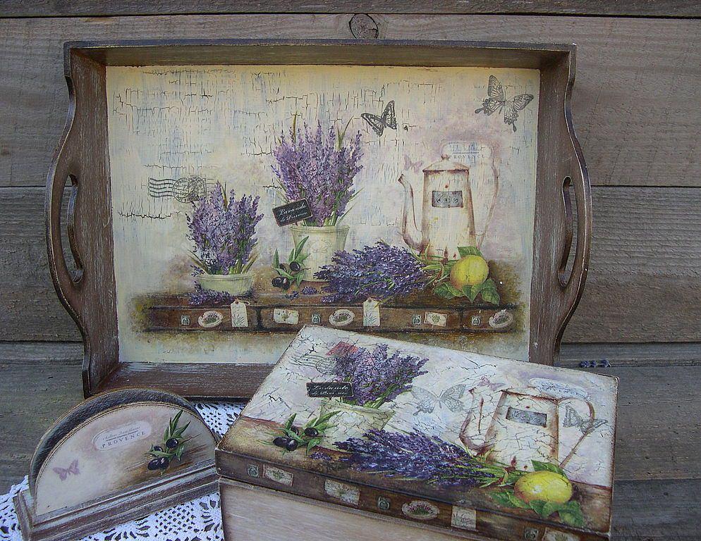 Декупаж в стиле прованс: картинки руками и мастер-класс, шкатулки и лейки, стол и поднос, салфеток фото