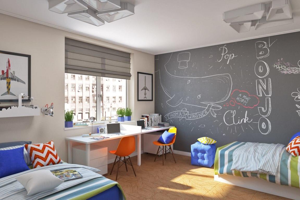 Детскую комнату для двух мальчиков следует сделать яркой, интересной и увлекательной