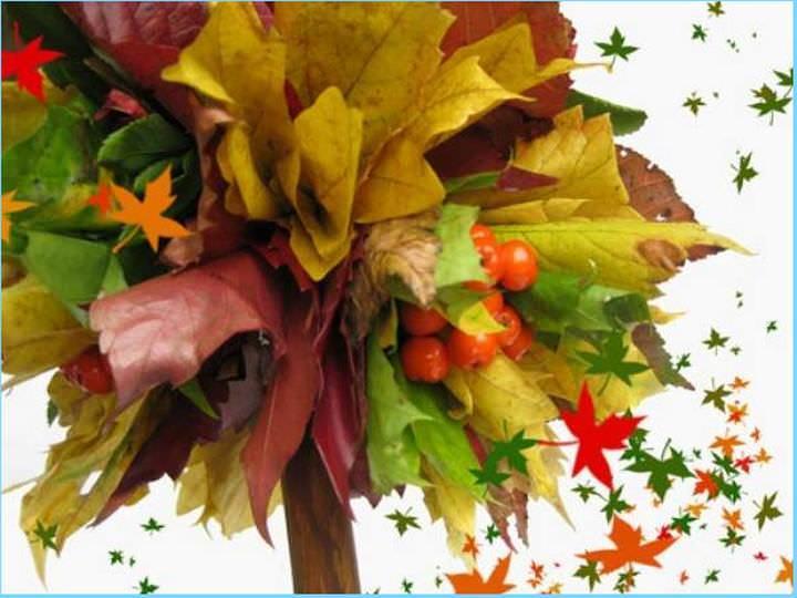 Топиарий из листьев – отличный подарок ко дню учителя или украшение домашнего интерьера. Оформить его можно любым природным материалом
