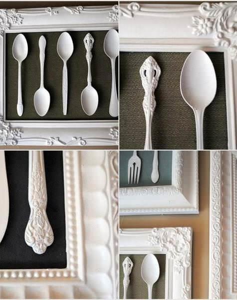 Картина из мельхиоровых приборов, покрытых эмалью в тон рамке, станет прекрасным дополнением кухни во французском стиле