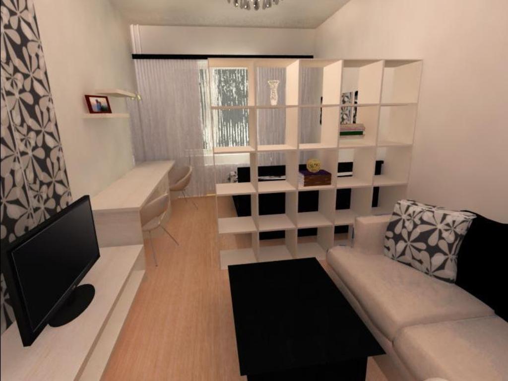 При совмещении спальни с гостиной необходимо правильно сделать разграничение пространства на несколько зон