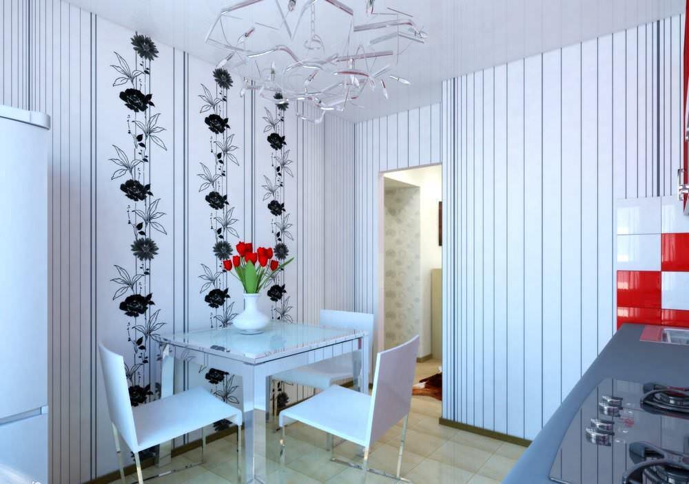 Вертикальные узоры визуально удлиняют стены и поднимают потолок