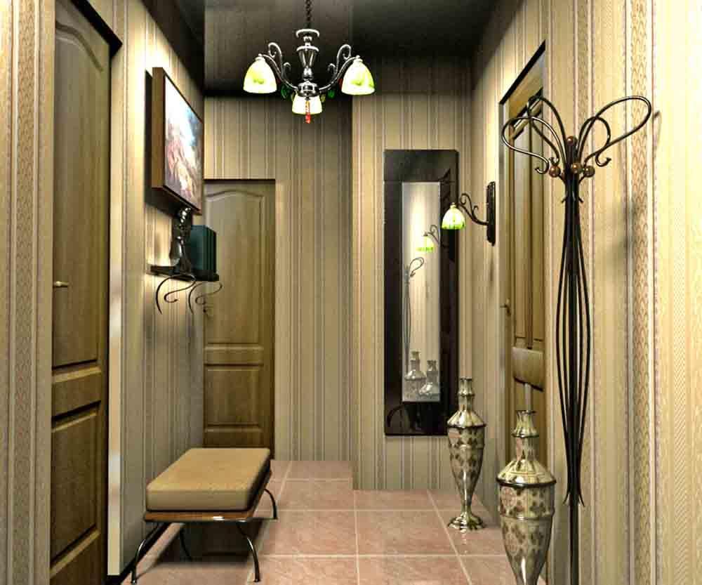 Для того чтобы визуально расширить пространство в маленьком коридоре, можно использовать зеркала во весь рост
