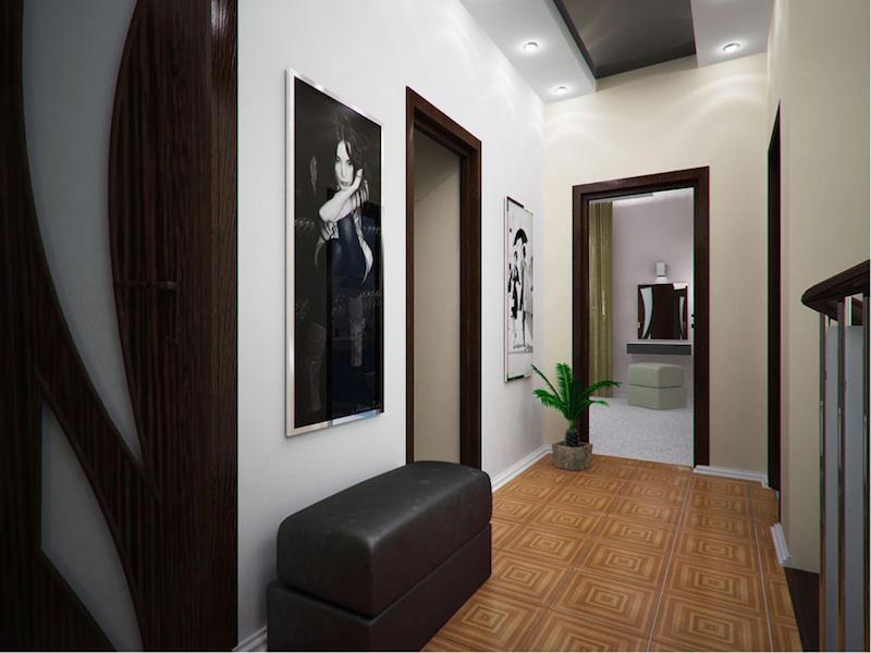 Дополнительно украсить интерьер коридора можно стильной тумбой для обуви