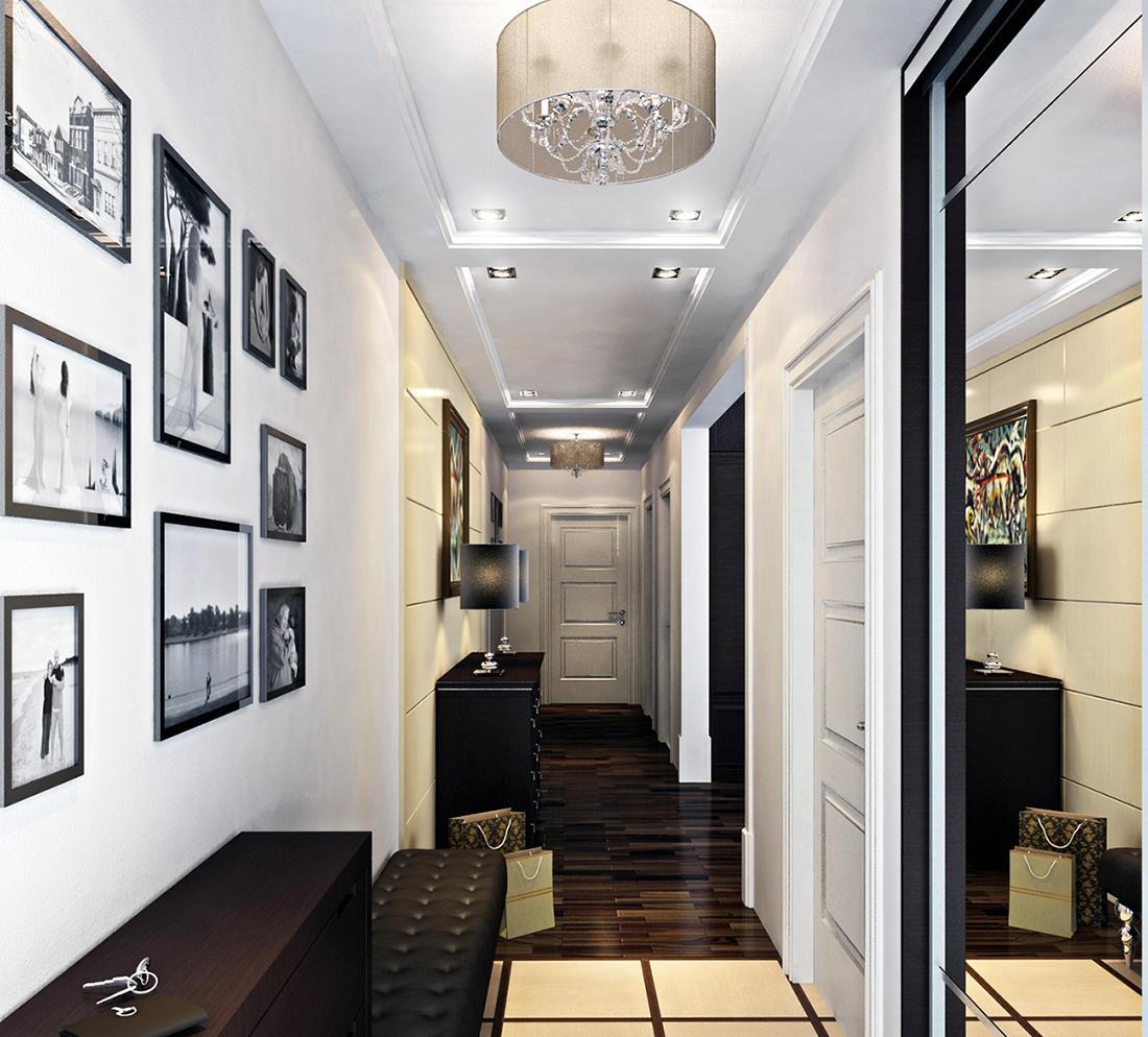 Стильно дополнить небольшой коридор и сделать его визуально больше можно при помощи красивого зеркала во весь рост