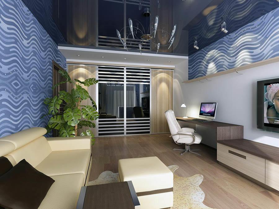 Визуально расширить гостиную помогут светлые обои и шкаф-купе с зеркальными дверцами