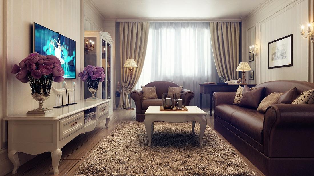 Прибавить бежево-коричневой гостиной ярких акцентов можно с помощью декоративных элементов: ярких цветов, ваз или картин