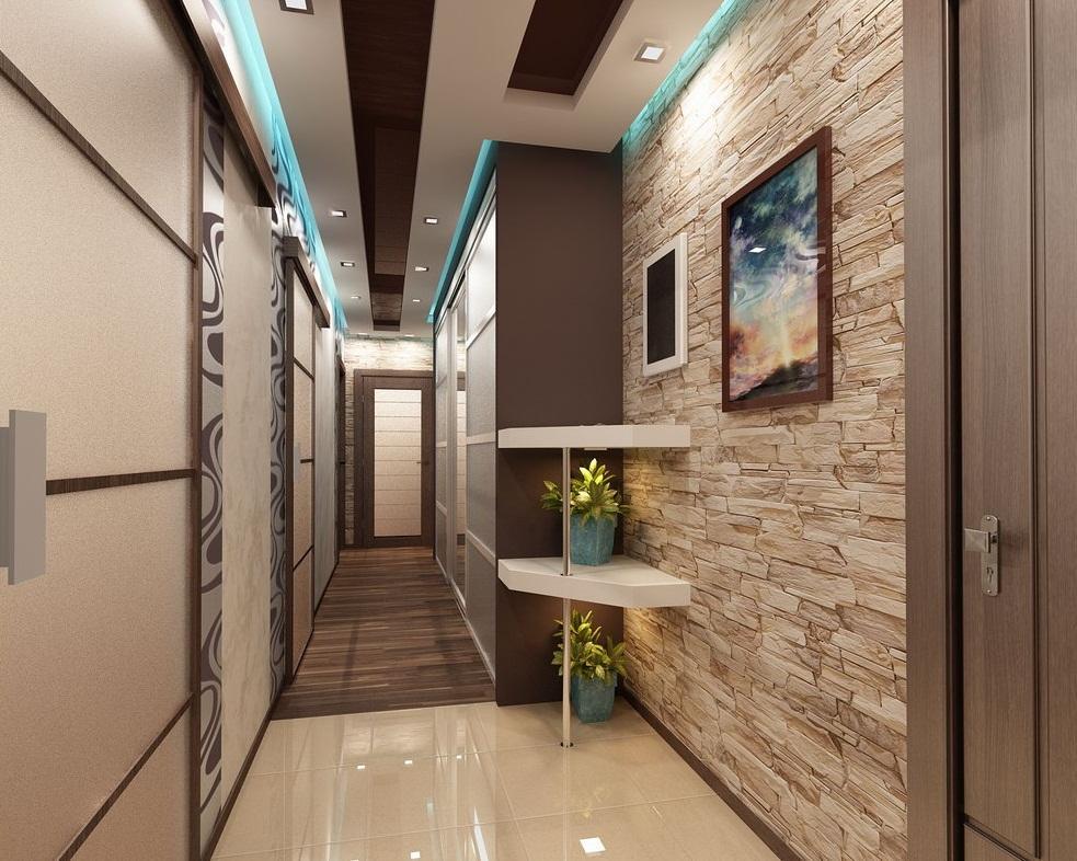Оригинальным решением является монтаж в узкой прихожей неоновой подсветки по периметру потолка