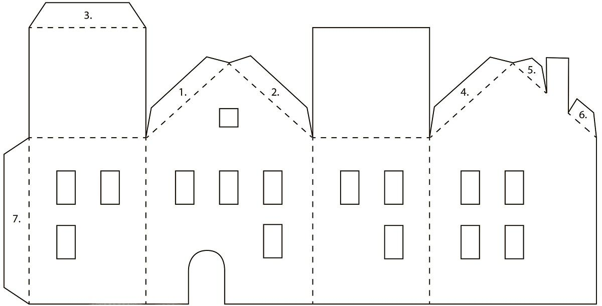 Схемы домика из картона можно скачать в интернете и распечатать на принтере