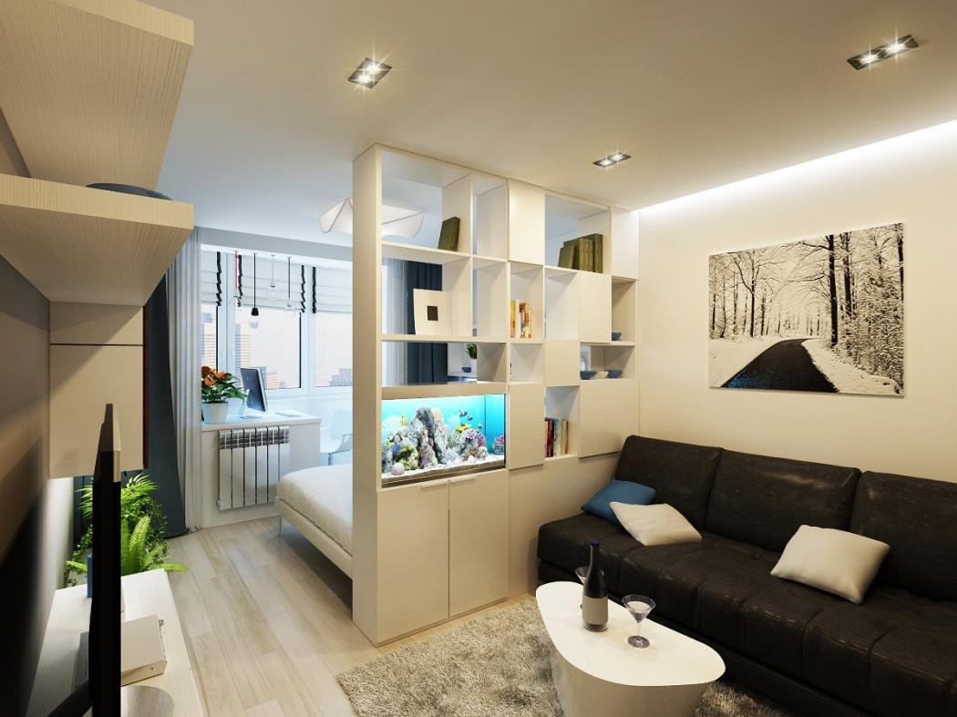 Разделить зоны спальни и гостиной можно с помощью мебели, перегородки из гипсокартона или шторы