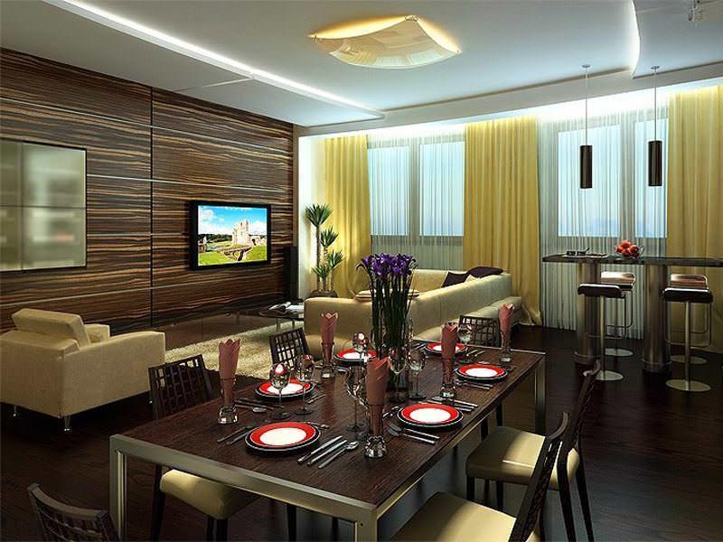 В кухне с площадью 12 кв м можно найти достаточно места для обустройства полноценной обеденной зоны