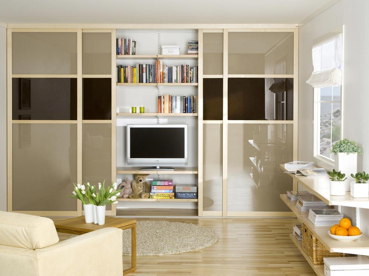 Техническое оснащение зала: места хранения и системы для гостиной, функциональность комнаты и ее интерьер