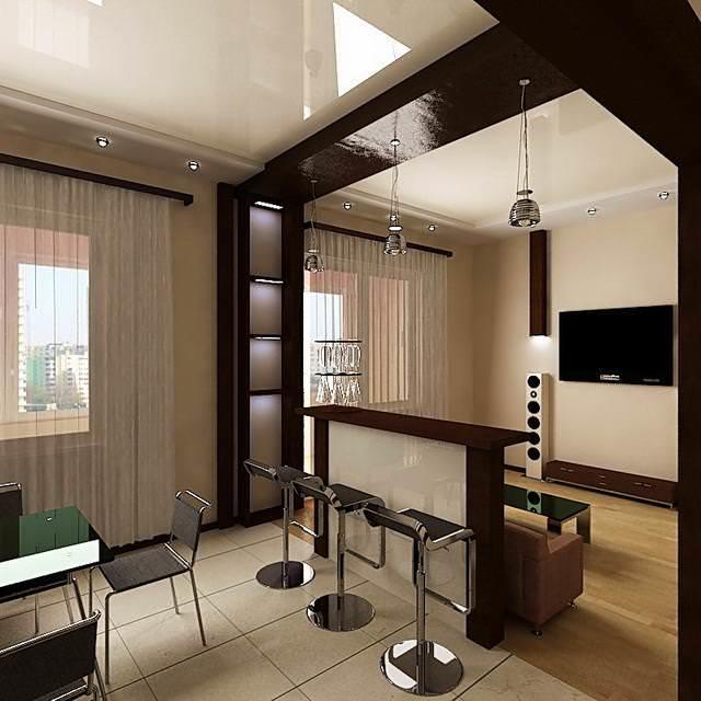 Совместив гостиную и кухню вы получаете достаточно просторное полноценное помещение для приема гостей и приготовления пищи