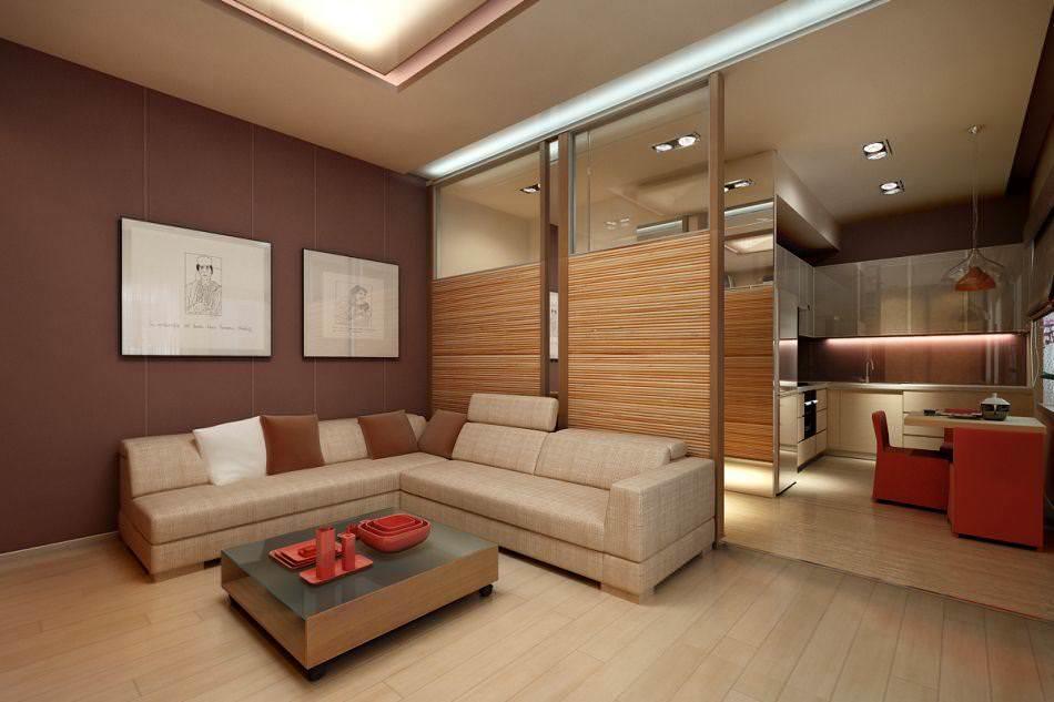 Передвижная перегородка между кухней и гостиной позволит визуально отделить пространство, но в любой момент соединить их снова