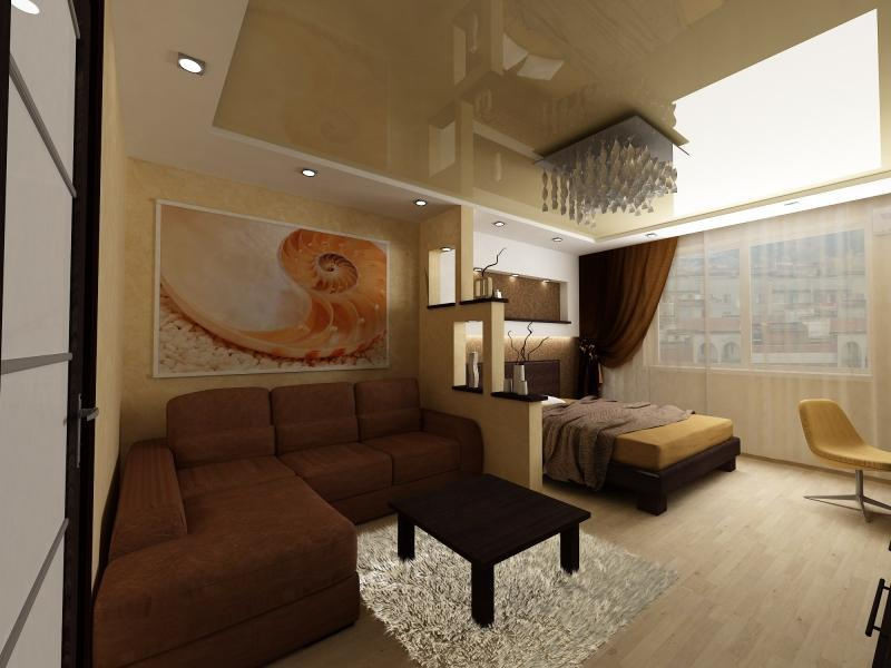 В современной гостиной-спальне лучше всего поставить диван, который раскладывается, и шкаф для одежды, желательно, с зеркальной дверью