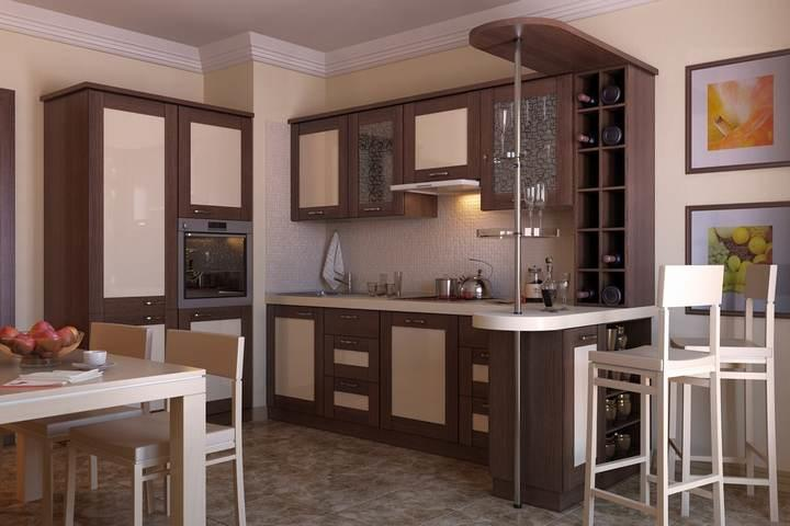 При выборе размера и дизайна столешницы бара придерживаются одного стиля и делают её такой, чтобы максимально использовать имеющееся пространство