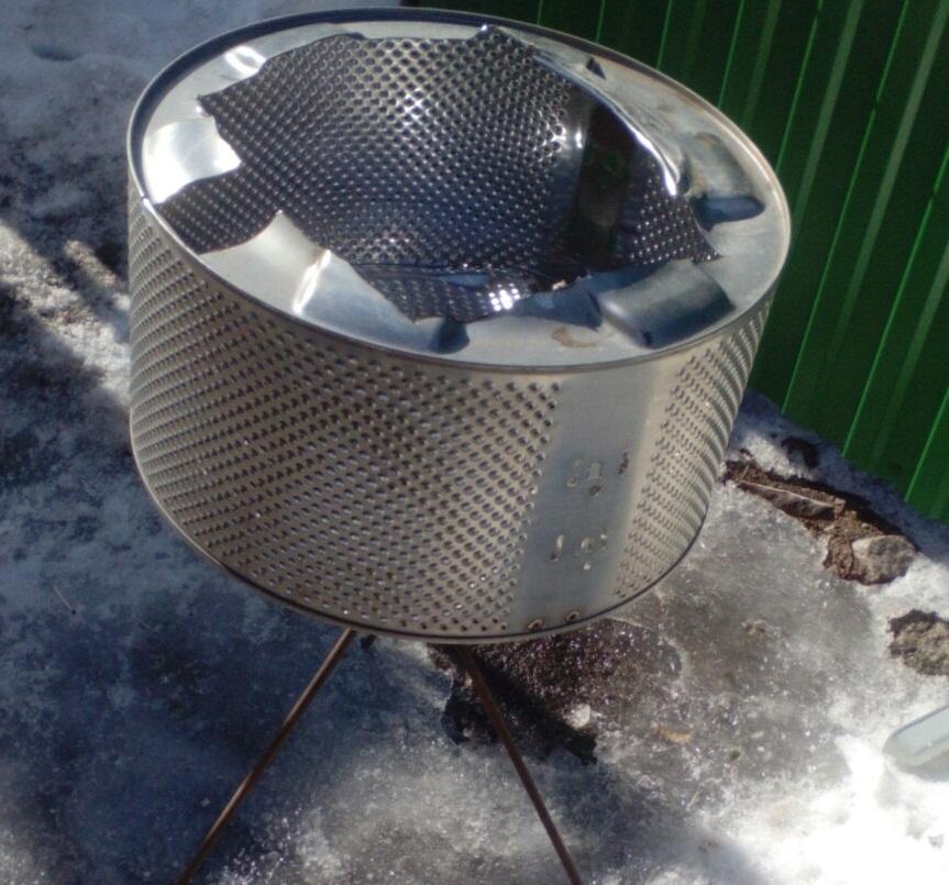 Чтобы сделать мангал, подойдет барабан стиральной машины любого размера
