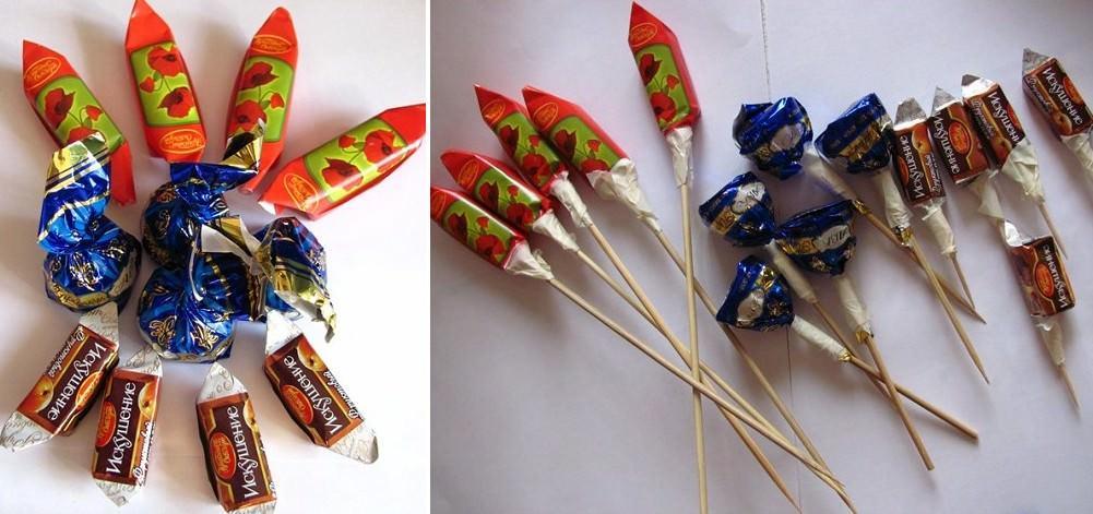 Самое оптимальное решение - это закрепить конфеты на зубочистке, чтобы потом была возможность их снять