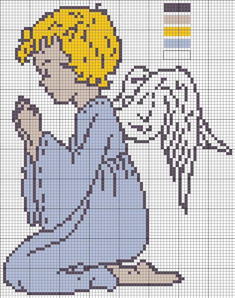 Для начинающих мастериц можно подобрать более простую схему вышивки ангела