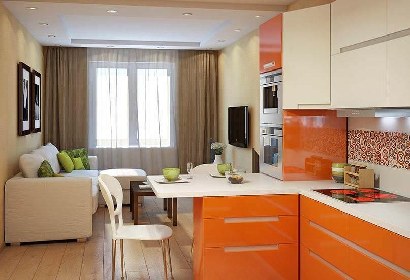 Кухня площадью 16 кв. метров позволяет использовать в дизайне практически любой стиль. Кроме того, можно использовать и темные оттенки - помещение не будет выглядеть маленьким
