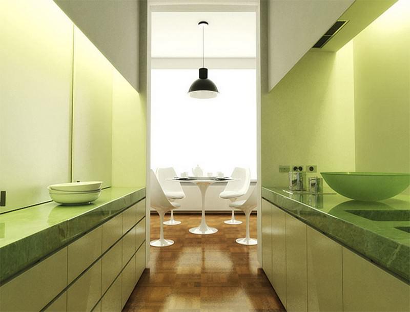 Двухрядное расположение мебели является неординарным решением для кухонь нестандартных форм