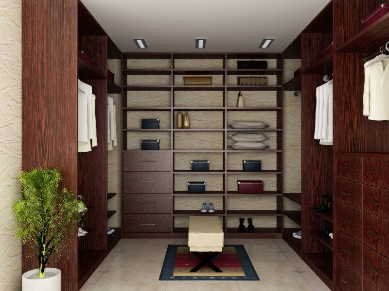 Для отделки стен в гардеробной небольшого размера лучше выбирать обои светлого оттенка