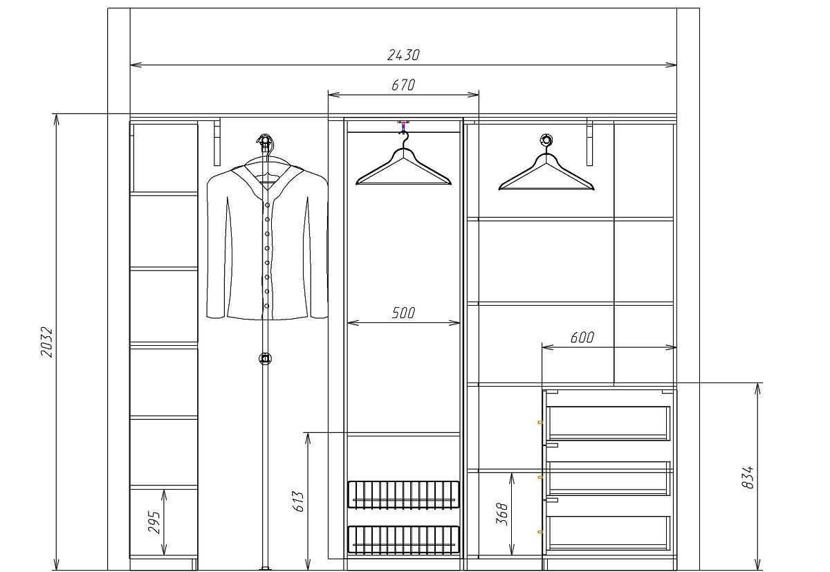 Перед началом сооружения гардероба рекомендуется составить его чертеж на бумаге, указав размеры всех элементов