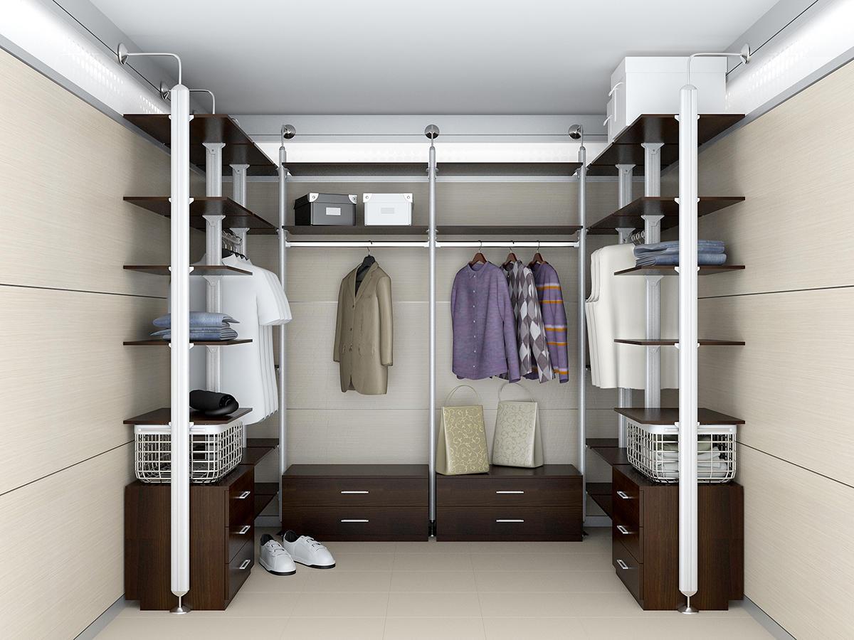 Чтобы визуально увеличить гардеробную комнату, при ее оформлении нужно использовать светлые оттенки