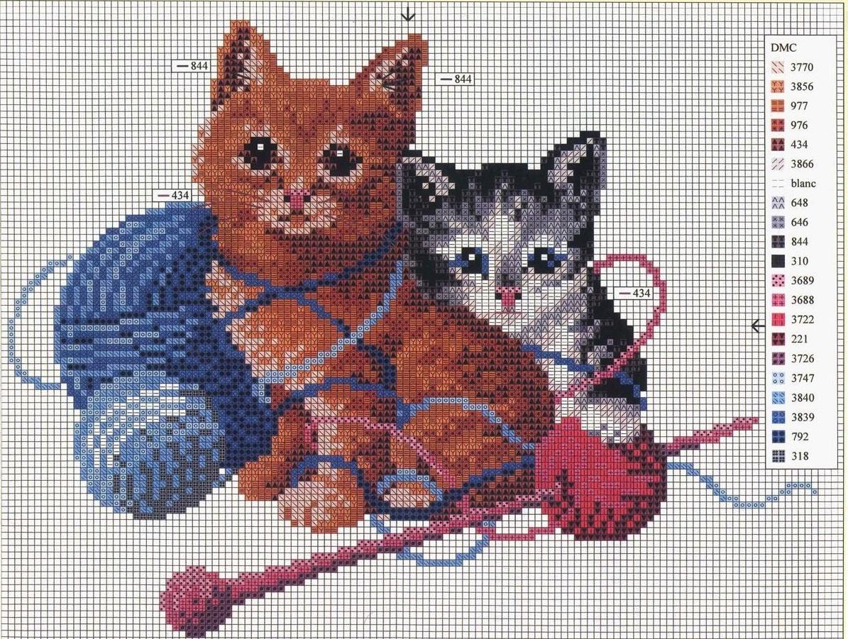 Существует широкое разнообразие схем для вышивания кошки с котятами, где подробно указаны цвета нитей, которые необходимо применять