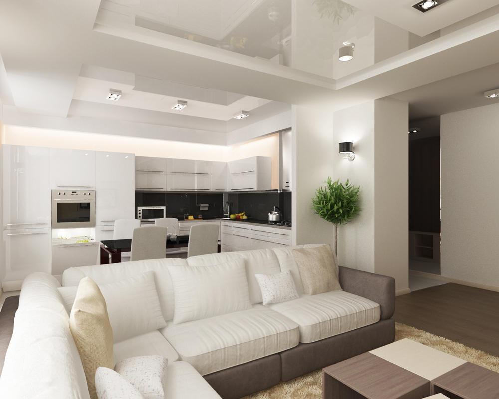 В качестве зонатора помещения может выступать не только барная стойка, но и красивый угловой диван