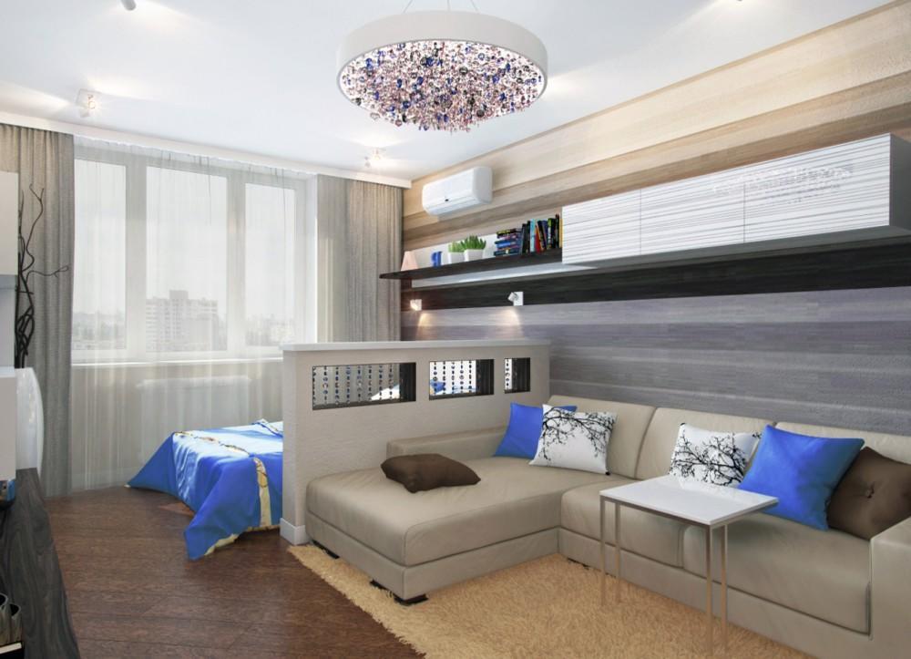 Объединенную гостиную и спальню лучше всего оформлять в одном стилевом направлении