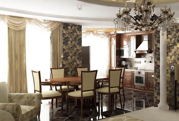 Для кухни-столовой, совмещенной с гостиной, идеально подойдет классический стиль