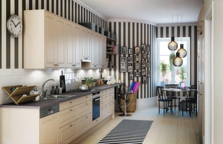 Черно-белые обои для кухни: как выбрать, с чем сочетать в интерьере, виды, широкоформатные, фото, советы дизайнеров