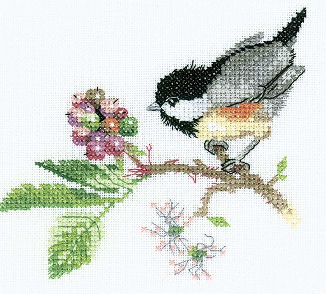 В качестве эскиза для вышивания счетным крестом отлично подойдет схема <strong>счётная</strong> с изображением птицы на ветке