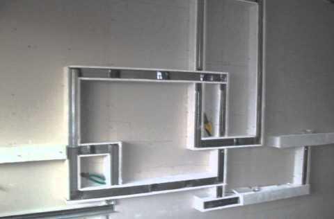 Каркас для полки из гипсокартона можно собрать из реек или металлического профиля