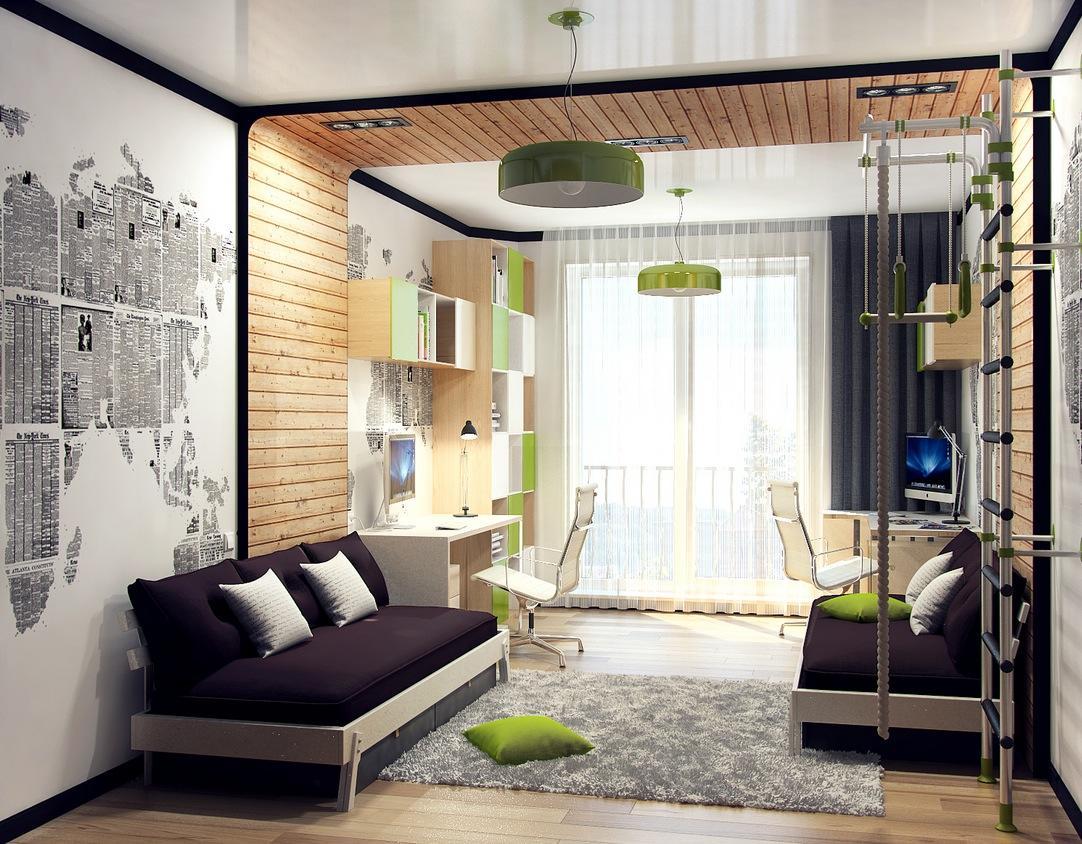 Спальня двух парней, если она небольшого размера, должна быть светлой для визуального увеличения пространства