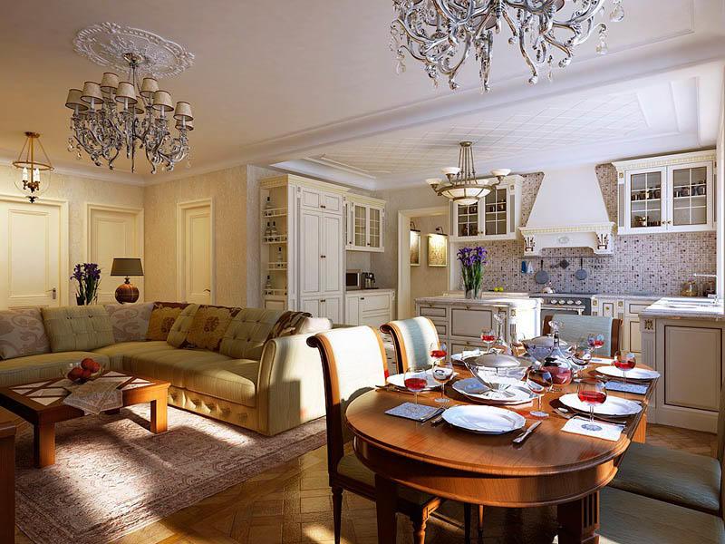 Если кухня слишком маленькая, чтобы обустроить в ней столовую, можно совместить помещение с гостиной